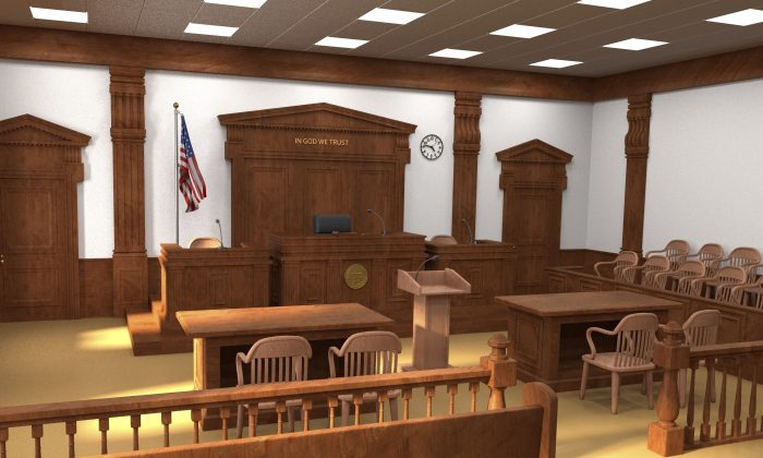 3D render of a courtroom. (3drenderings/iStock)