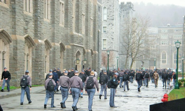 West Point Cadets during change of class on April 3, 2006. (Vincent J. Bove)