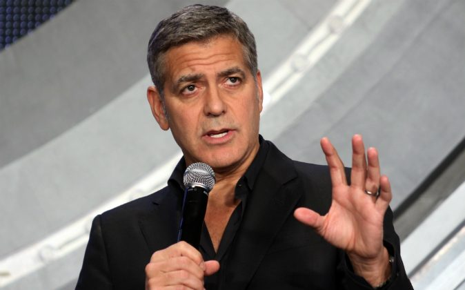 US movie star George Clooney speaks at the Japan premiere of his latest movie 'Tomorrowland' in Tokyo on May 25, 2015. (YOSHIKAZU TSUNO/AFP/Getty Images)