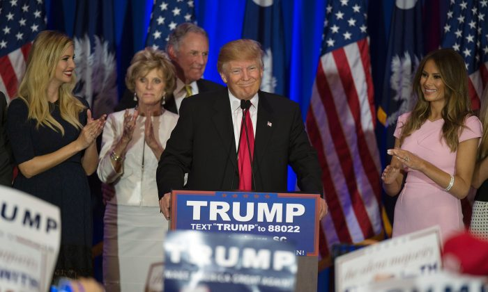Republican presidential candidate Donald Trump celebrates winning the South Carolina primary in Spartanburg, S.C., on Feb. 20, 2016. (Jim Watson/AFP/Getty Images)