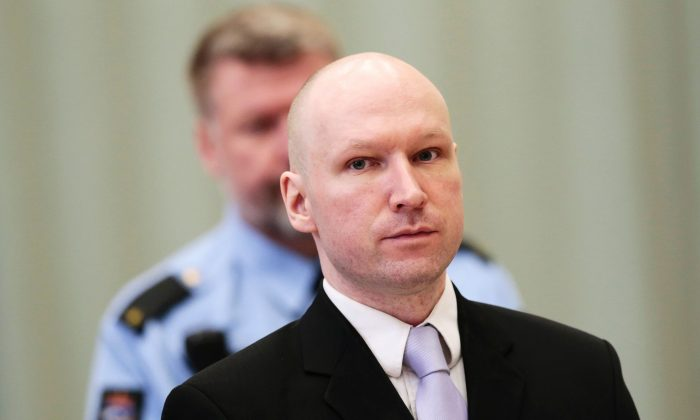 Norwegian mass killer Anders Behring Breivik attends his fourth and last day in court in Skien prison, March 18, 2016. (Lise Aserud/AFP/Getty Images)