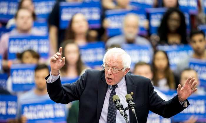 U.S. Senator and Democratic Party presidential candidate Bernie Sanders speaks during a rally at Penn State University in State College, Pa., on April 19, 2016. (Sean Simmers/PennLive.com via AP)