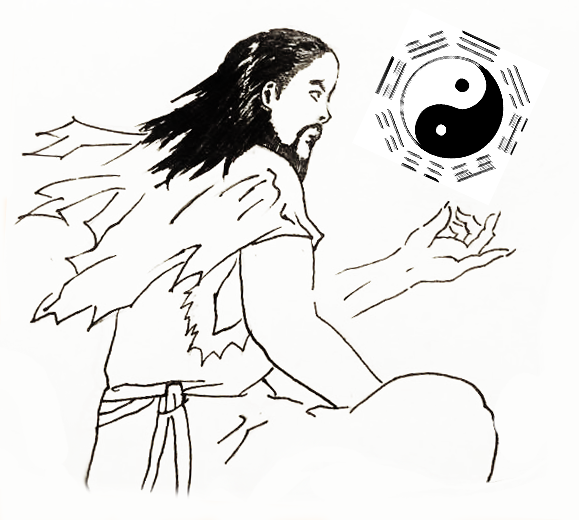 Fu Xi creates the Eight Trigrams and Yin-Yang duality. (Leo Timm/Epoch Times)