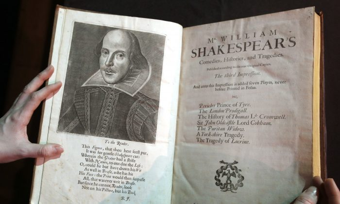 A portrait of William Shakespeare is seen in the Third Folio in London on March 16, 2016. William Shakespeare died 400 years ago Saturday, April 23. (AP Photo/Kirsty Wigglesworth)