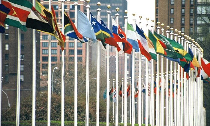 U.N. members' flags at the U.N. Headquarters in New York City. (Aotearoa/Wikimedia Commons, CC BY-SA)