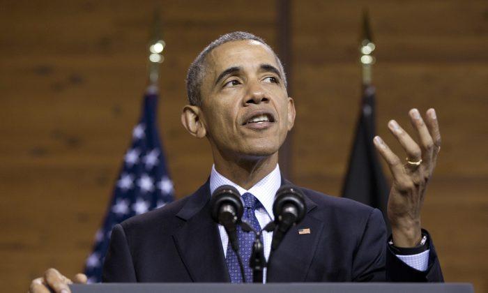 U.S President Barack Obama speaks at the Hannover Messe, on April 25, 2016. (AP Photo/Carolyn Kaster)