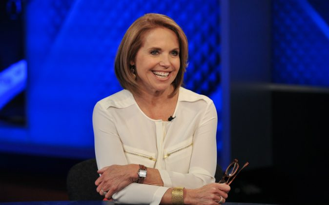 Katie Couric visits 'The O'Reilly Factor' at FOX Studios on May 13, 2014 in New York City. (Photo by D Dipasupil/Getty Images)