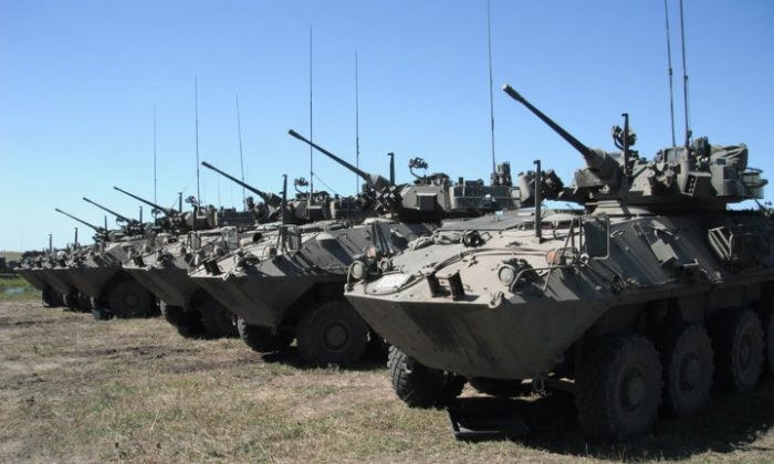 Light-armored vehicles, LAV-25, of Canada's 12th Armoured Regiment. (Jimderkaisser, CC BY-SA)
