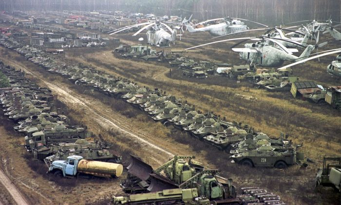 Radioactive contaminated vehicles lay dormant near the Chernobyl nuclear power plant on Nov. 10, 2000. (Efrem Lukatsky/AP Photo)