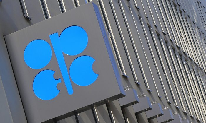 The logo of the Organization of the Petroleum Exporting Countries (OPEC) at its headquarters building in Vienna on April 4, 2013. (Alexander Klein/AFP/Getty Images)