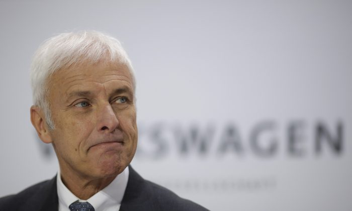 Volkswagen CEO Matthias Mueller attends the company's annual press conference in Wolfsburg, Germany, Thursday, April 28, 2016. (AP Photo/Markus Schreiber)