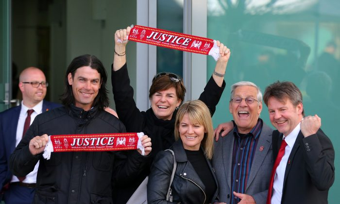 WARRINGTON, ENGLAND— Families depart Birchwood Park following the final verdict of the Hillsborough inquest on April 26th, 2016. The fresh inquests into the 1989 Hillsborough disaster, in which 96 football supporters were crushed to death, concluded with a verdict of unlawful killing, after the initial verdicts were quashed. (Dave Thompson/Getty Images)