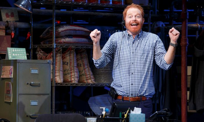 """Jesse Tyler Ferguson in a frantic comedy by Becky Mode, """"Fully Committed, now at Broadway's Lyceum Theatre. (Joan Marcus)"""