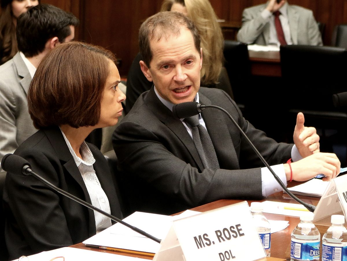 "Chief Human Capital Officer Towanda Brooks (L), from the U.S. Housing and Urban Development (HUD), and Max Stier, president and CEO, Partnership for Public Service, testify at a hearing on April 27 at the House Committee on Oversight and Government Reform on ""Best and Worst Places to Work in the Federal Government."" (Gary Feuerberg/Epoch Times)"