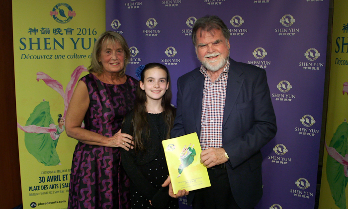 Denis St-Amour and his wife, Nancy Rokas, attended Shen Yun Performing Arts with their granddaughter, Samantha Rivard, at Place des Arts in Montreal on April 30, 2016. (Christine Ni/Epoch Times)