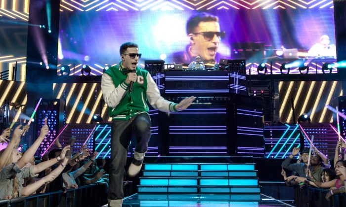 """In this image released by Universal Pictures, Andy Samberg appears in a scene from """"Popstar: Never Stop Never Stopping,"""" in theaters nationwide on June 3. (Universal Pictures via AP)"""