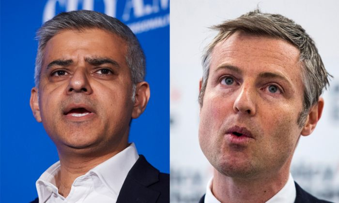 London mayoral candidates Sadiq Khan (L), of the Labour Party, and Zac Goldsmith (R), of the Conservative Party. (Niklas Halle'n and Jack Taylor/AFP/Getty Images)