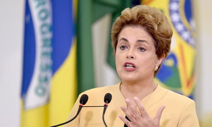 Brazilian President Dilma Rousseff delivers a speech during at the Planalto Palace in Brasilia on April 29, 2016. (Evaristo Sa/AFP/Getty Images)