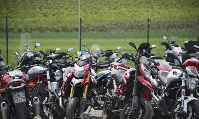 IMOLA, ITALY - APRIL 30:  Bikes park in parking during the World Superbikes - Qualifying at Enzo & Dino Ferrari Circuit on April 30, 2016 in Imola, Italy.  (Photo by Mirco Lazzari gp/Getty Images)