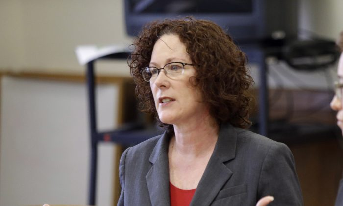 Oregon Rep. Val Hoyle, D-Eugene, speaks during a legislative forum at the Capitol in Salem, Ore. For Oregon's upcoming primary on May 17, the Democratic race for Secretary of State is arguably tightest between Hoyle and Sen. Richard Devlin. (AP Photo/Don Ryan)