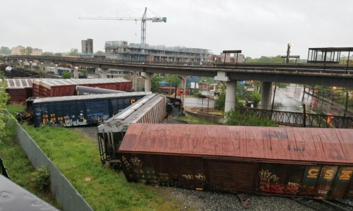 Several cars remain overturned after a CSX freight train derailed in Washington, D.C., on May 1, 2016. (DC Fire and EMS via AP)