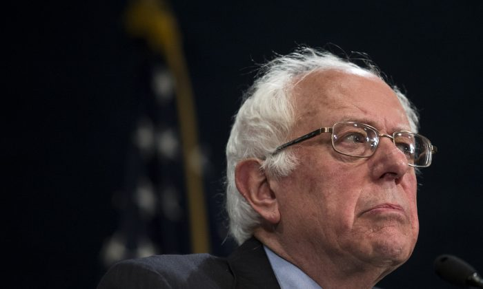Democratic presidential candidate Sen. Bernie Sanders (D-Vt.) during a news conference at the National Press Club in Washington, D.C., on May 1, 2016. (Drew Angerer/Getty Images)