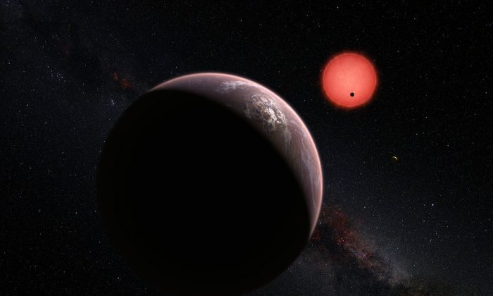 This artist's impression shows an imagined view of the three planets orbiting an ultracool dwarf star just 40 light-years from Earth that were discovered using the TRAPPIST telescope at ESO's La Silla Observatory. (ESO/M. Kornmesser/N. Risinger (skysurvey.org))