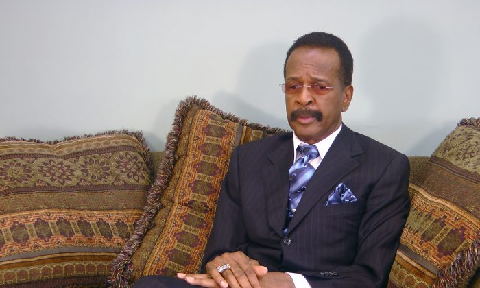 """This image made from a video, former Prince bassist Larry Graham talks about Prince in an Associated Press interview on Monday, May 2, 2016. Graham, a famous bassist and longtime friend of pop megastar Prince says the artist found """"real happiness"""" in his faith and could stay up all night talking about the Bible. Graham tells The Associated Press that Prince became a Jehovah's Witness later in life and that it changed the star's music and lifestyle. (AP Photo/Jeff Baenen)"""