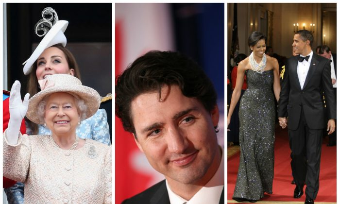 Left to Right: Kate Middleton, Duchess of Cambridge and Queen Elizabeth II on the balcony of Buckingham Palace on June 13, 2015 in London, England - Canadian Prime Minister Justin Trudeau on March 11, 2016 in Washington, DC. - U.S. President Barack Obama and first Lady Michelle Obama at the White House on February 22, 2009 in Washington, DC. (Chris Jackson/Getty Images; Win McNamee/Getty Images; Mike Theiler-Pool/Getty Images)