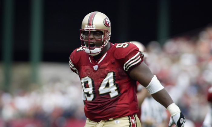 Dana Stubblefield was the NFL's Defensive Player of the Year in 1997 when he was a member of the San Francisco 49ers. (Jed Jacobsohn/Getty Images)