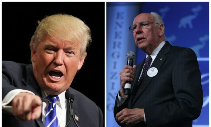 Left to Right: Donald Trump at the Treasure Island Hotel & Casino on October 8, 2015 in Las Vegas, Nevada - Rafael Cruz speaks on May 22, 2015 in Oklahoma City, Oklahoma. (Isaac Brekken/Getty Images; Alex Wong/Getty Images)