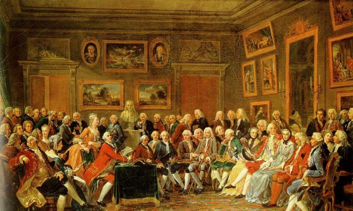 In the Salon of Madame Geoffrin in 1755. (Anicet-Charles-Gabriel Lemonnier, 1812; Public Domain)
