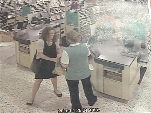 In this newly released surveillance photo, Tricia Williams Todd, left, converses with a Publix grocery store employee just before exiting the location. This is her last known whereabout before going missing on April 26. (Martin County Sheriff's Office/Facebook)