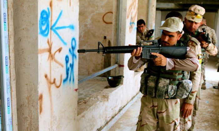 Kurdish peshmerga soldiers during a coalition-led training exercise in Erbil, Iraq. (Nolan Peterson/The Daily Signal)