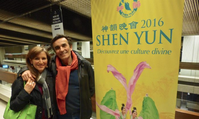 Singer Martine Watine with her husband, Thierry Watine, a journalism professor at the University of Laval, after seeing Shen Yun Performing Arts at the Grand Théâtre de Québec on May 4, 2016. (Mathieu Côté-Desjardins/Epoch Times)