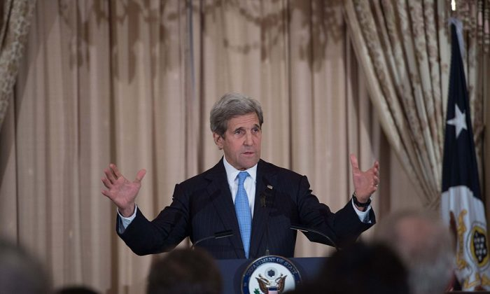 US Secretary of State John Kerry speaks at a reception for the US-Caribbean-Central American Energy Summit delegations at the State Department in Washington, DC, on May 3, 2016. (NICHOLAS KAMM/AFP/Getty Images)