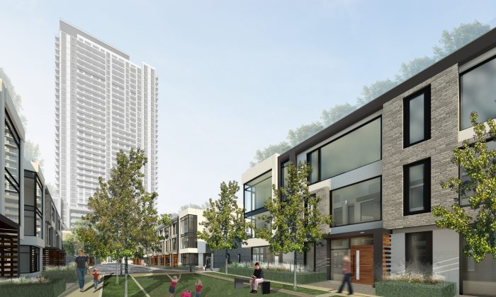 Rendering of The Met's townhomes. (Courtesy of Plaza Corp.)