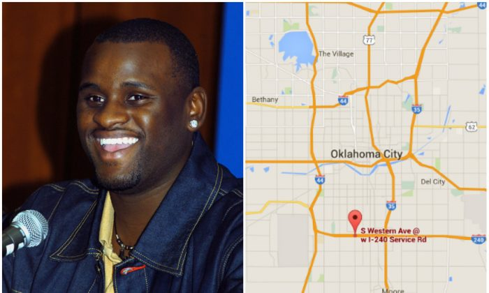Left: American Idol finalist Rickey Smith on, March 8, 2003 in North Hollywood , California. (Michel Boutefeu/Getty Images); Right: Intersection of S Western Avenue and I-240 in Oklahoma City. (Screenshot of Google Maps)