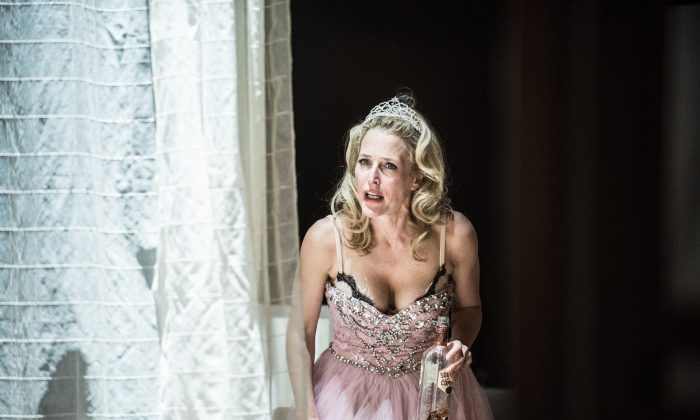 """Blanche DuBois (Gillian Anderson) finds herself in a coarser world than she can deal with in """"Streetcar Named Desire."""" (Teddy Wolff)"""