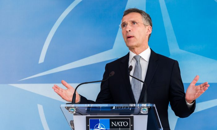 NATO Secretary-General Jens Stoltenberg addresses the media after a NATO-Russia Council at NATO headquarters in Brussels on April 20, 2016. (AP Photo/Geert Vanden Wijngaert)