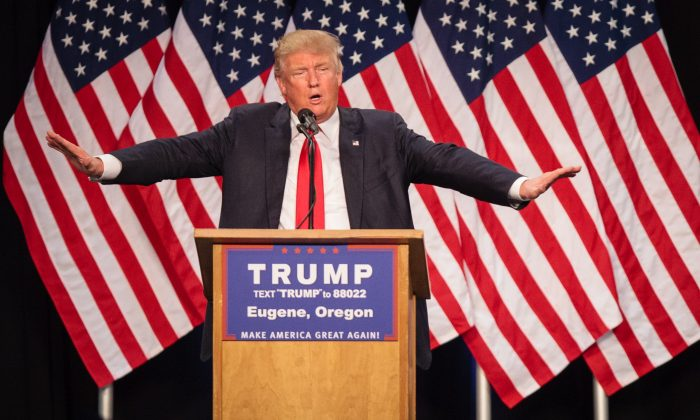 US Republican presidential candidate Donald Trump addresses the audience in Eugene, Oregon on May 6, 2016.  (ROB KERR/AFP/Getty Images)