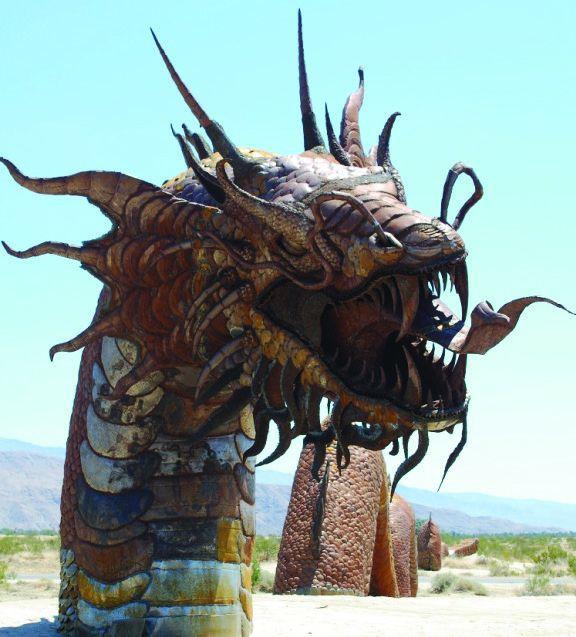 Metal sculpture of a 350-foot dragon in Borrego Springs. (Borrego Springs Chamber of Commerce/Visitors' Bureau)