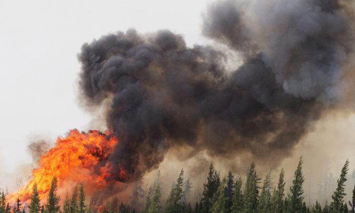 A wildfire burns south of Fort McMurray, Alberta, near Highway 63 on Saturday, May 7, 2016. (Ryan Remiorz/The Canadian Press via AP)