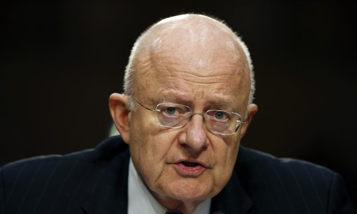 Director of the National Intelligence James Clapper testifies on Capitol Hill in Washington, D.C., o Feb. 9, 2016. Even though bulk collection of Americans' phone records has ended, calls and emails are still being swept up by U.S. surveillance work targeting foreigners. There is a renewed push to find out how many. (AP Photo/Alex Brandon)