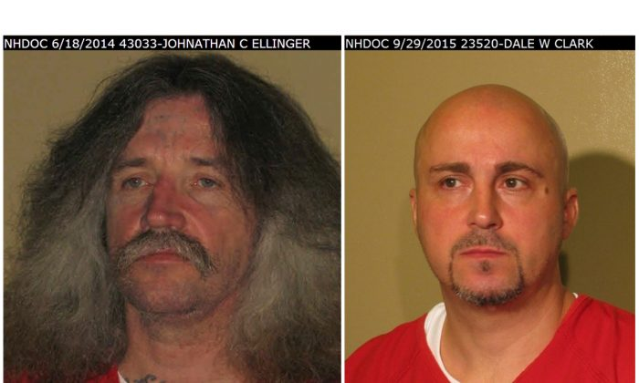 New Hampshire corrections officials say two inmates 45-year-old Jonathan Conrad Ellinger (L) and 42-year-old Dale Wayne Clark (R) have escaped from from a minimum security halfway house in Concord, N.H. The two were reported missing from the transitional housing unit around 9 p.m., Saturday, May 7, 2016. (New Hampshire Department of Corrections via AP)