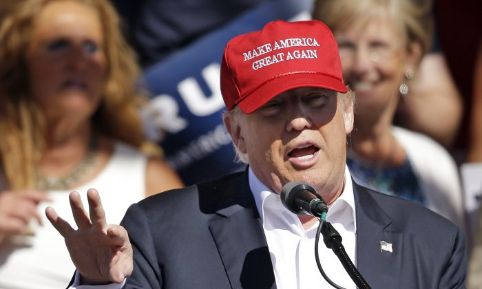 Republican presidential candidate Donald Trump speaks at a rally in Lynden, Wash., on May 7, 2016. (AP Photo/Elaine Thompson)