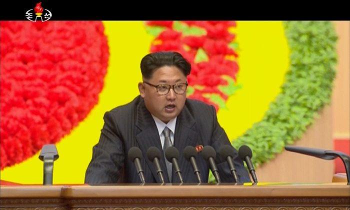 North Korean leader Kim Jong-un speaks at the party congress in Pyongyang, North Korea, on May 7, 2016. (KRT via AP Video)