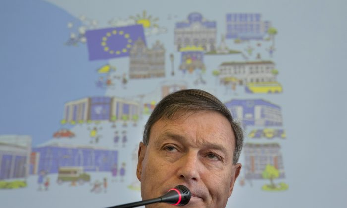 European Union's Ambassador to China Hans Dietmar Schweisgut speaks during a press conference held before an event to mark Europe Day in Beijing, China, Monday, May 9, 2016. (AP Photo/Ng Han Guan)