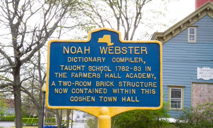 A historical marker outside Goshen's Town Hall on Webster Avenue on May 7, 2016. (Holly Kellum/Epoch Times)