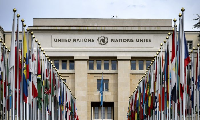 "Flags lining the front lawn of the ""Palais des Nations,"" which houses the United Nations Office in Geneva, on Sept. 15, 2015. (Fabrice Coffrini/AFP/Getty Images)"